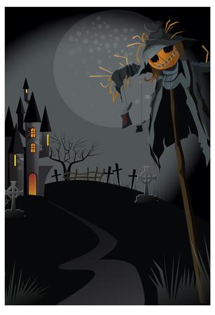 Brutto spaventapasseri sul bastone di notte illustrazione vettoriale. Sentiero stretto per un edificio gotico. Concetto di casa abbandonata Vettoriali