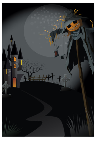 Ugly scarecrow on stick at night vector illustration. Narrow path to gothic building. Abandoned house concept