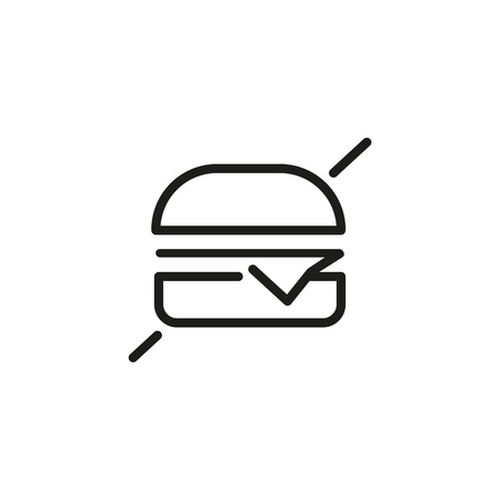 No fast food line icon. Hamburger, cheeseburger, junk food. Health care concept. Can be used for topics like healthy lifestyle, diet, clean eating