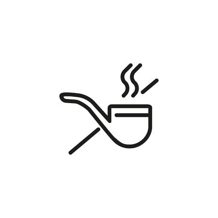 Icono de línea de señal de no fumar. Pipa, tabaco, prohibición. Concepto de salud. Se puede utilizar para temas como estilo de vida saludable, lugares públicos, malos hábitos.