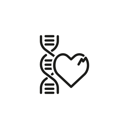 Genetic heart diseases line icon. Damaged heart and DNA. Health care concept. Can be used for topics like genetics, medical research, healthcare