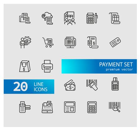 Zahlungssymbole. Satz von Liniensymbolen. Drucken, Quittung, Taschenrechner. Finanzkonzept. Vektorillustration kann für Themen wie Bargeld, Einkaufen, Geld verwendet werden