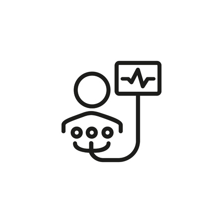 Electrocardiogram line icon. Patient, monitor, ecg. Health care concept. Can be used for topics like heart checkup, disease prevention, icu