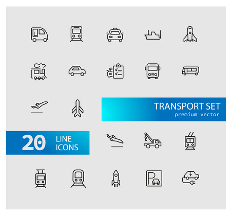 Transport icons. Set of line icons. Train, airplane, taxi. Vehicle icon set. Vector illustration can be used for topics like transportation, public services, travel