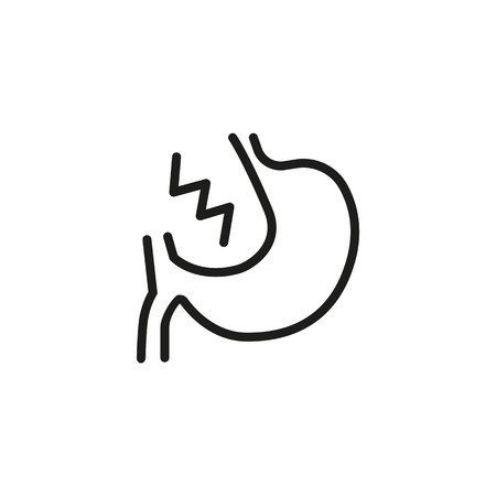Stomach line icon. Unwell, tummy, ache. Anatomy concept. Vector illustration can be used for topics like symptom, pain, gastric Illustration