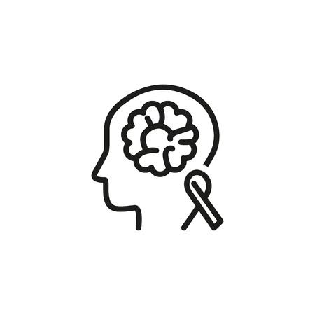 Icône de ligne de sensibilisation au cancer du cerveau. Test médical, personne, tomographie. Concept de neurologie. L'illustration vectorielle peut être utilisée pour des sujets tels que la chimiothérapie, la tumeur, le diagnostic