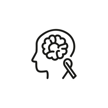 Brain cancer awareness line icon. Medical test, person, tomography. Neurology concept. Vector illustration can be used for topics like chemotherapy, tumor, diagnostic Illustration
