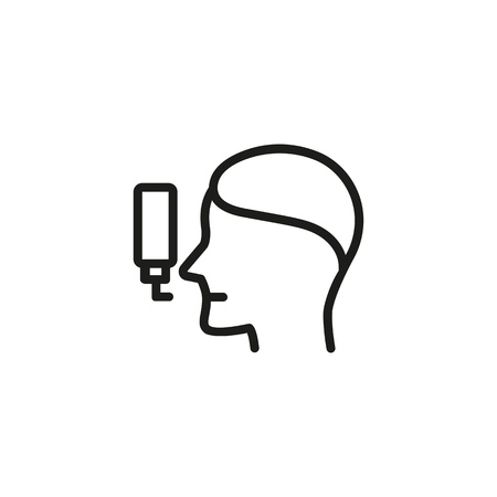 Medical sprayer line icon. Respiratory, infection, breathing. Treatment concept. Vector illustration can be used for topics like allergy, asthmatic, asthma Illustration