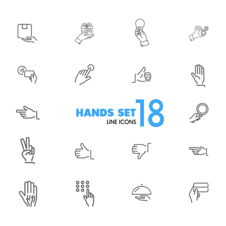 Hands icons. Set of  line icons. Thumbs up, gift, direction sign. Gesture concept. Vector illustration can be used for topics like networking, communication, signs and symbols Illustration