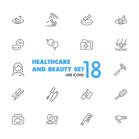 Healthcare and beauty icons. Set of line icons. Woman, cosmetics, hairdressing. Healthcare and beauty concept. Vector illustration can be used for topics like eye sight, make up, beauty salon. Illustration