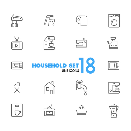 Household icons. Set of line icons. Washing machine, TV set, sewing machine. Domestic appliances. Vector illustration can be used for topics like housework, housekeeping, technology