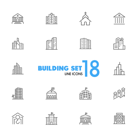Building icons. Set of line icons. Church, museum, bank. Architecture concept. Vector illustration can be used for topics city, public estate.