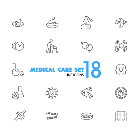 Medical care icons. Set of line icons. Eye sight, virus, wheelchair. Wellness concept. Vector illustration can be used for topics like healthcare, medication, treatment.