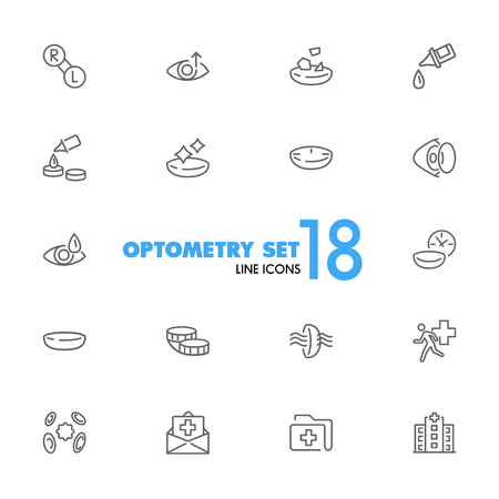Optometry icons. Set of line icons. Contact lens, clinic, lens care. Eye sight concept. Vector illustration can be used for topics like vision, health care, ophthalmology. Vettoriali