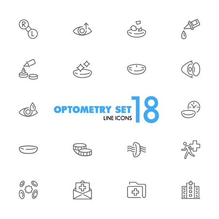 Optometrie-Symbole. Satz von Liniensymbolen. Kontaktlinsen, Klinik, Linsenpflege. Eye-Sight-Konzept. Vektorillustration kann für Themen wie Vision, Gesundheitswesen, Augenheilkunde verwendet werden. Vektorgrafik