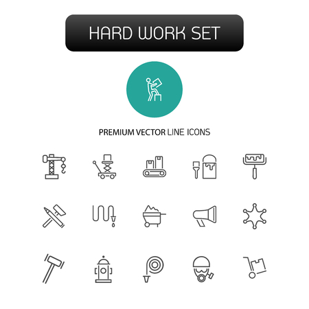 Hard work icons. Set of  line icons. Courier, criminal, policeman. Occupation symbols concept. Vector illustration can be used for topics like business, service Vectores