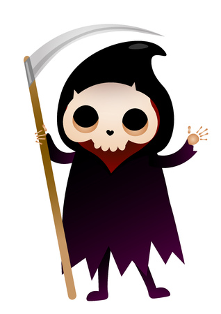 Grim Reaper waving hand and holding scythe. Death, skeleton, mythology. Halloween concept. Can be used for greeting cards, posters, leaflets and brochure