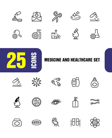 Medicine and healthcare icons. Set of  line icons. Bacteria, corrosion, microscope. Science concept. Vector illustration can be used for topics like microbiology, research, pharmaceutics Stock Vector - 109541476
