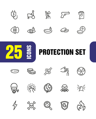 Protection icons. Set of  line icons. Contact lens, respirator, radiation hazard. Caution concept. Vector illustration can be used for topics like ophthalmology, danger, epidemic. Stock Illustratie