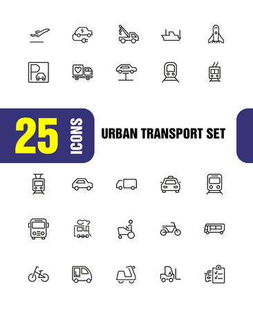 Urban transport icons. Set of  line icons. Tram, bicycle, parking. Vehicle concept. Vector illustration can be used for topics like transportation, travel, trip Illustration