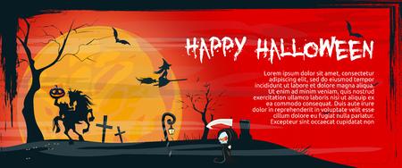 Glücklicher Halloween-Fahnenentwurf mit dem verrückten Kürbis, der auf Pferd gegen Vollmond auf rotem Hintergrund sitzt. Beschriftungen können für Einladungen, Schilder und Ankündigungen verwendet werden
