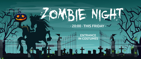 Zombie Night, this Friday lettering with Headless Horseman and graveyard. Invitation or advertising design. Typed text, calligraphy. For leaflets, brochures, invitations, posters or banners. Illustration