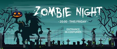 Zombie Night, deze vrijdag belettering met Headless Horseman en kerkhof. Uitnodiging of reclame-ontwerp. Getypte tekst, kalligrafie. Voor folders, brochures, uitnodigingen, posters of spandoeken. Vector Illustratie