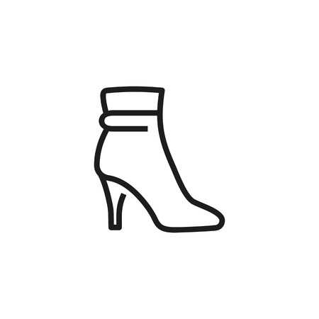 Female short boot line icon. Ankle, stiletto, high heel. Footwear concept. Can be used for topics like shoe store, fashion, autumn trend Illustration