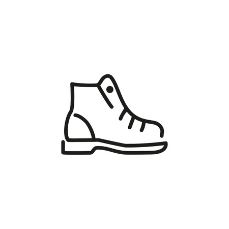Hiking boot line icon. Shoelaces, ankle, leather. Footwear concept. Can be used for topics like shoe shop, travel, active lifestyle Illustration