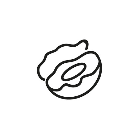 Open shell line icon. Seashell, scallop, pearl Ocean life concept. Can be used for topics like wildlife, seafood, shellfish Illustration