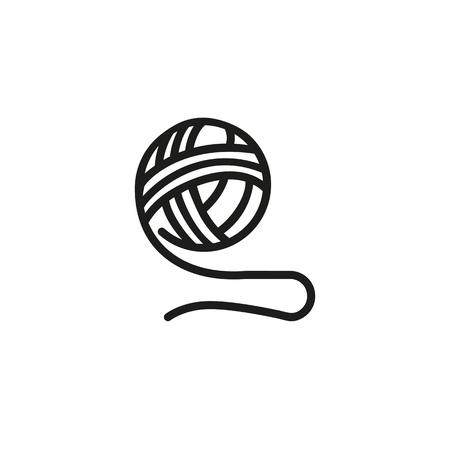 Acrylic line icon. Clew, ball, knitting. Fabric features concept. Can be used for topics like atelier, clothes production, dressmaking, hobby