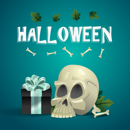 Halloween banner design with human skull, gift box, bones and leaves on blue background. Realistic lettering can be used for invitations, signs, announcements Stock Photo