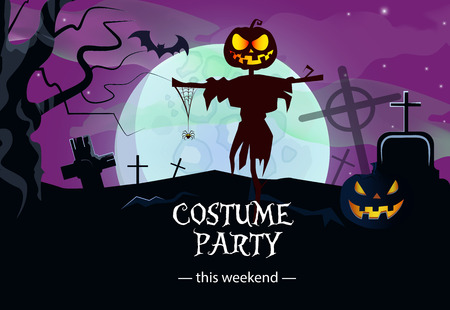 Costume party weekend purple banner design. Lettering with straw man, pumpkin, graves, cemetery, bat and full moon. Can be used for invitations.postcards,posters.