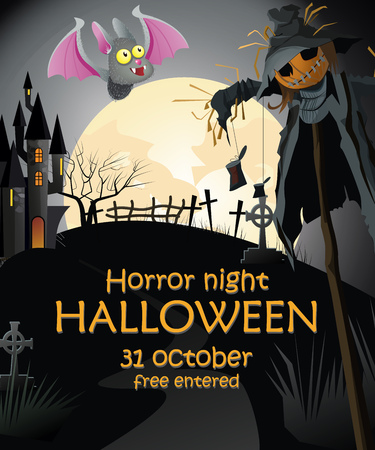 Halloween banner design to horror night with straw man. Creative invitation to horror night with straw man, bat, cemetery, castle and full moon. Can be used for invitations and postcards.