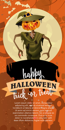 Happy Halloween trick or treat poster design with spooky  straw man.Calligraphy with straw man with pumpkin head, full moon on orange background. Can not  be used for  banners,posters.