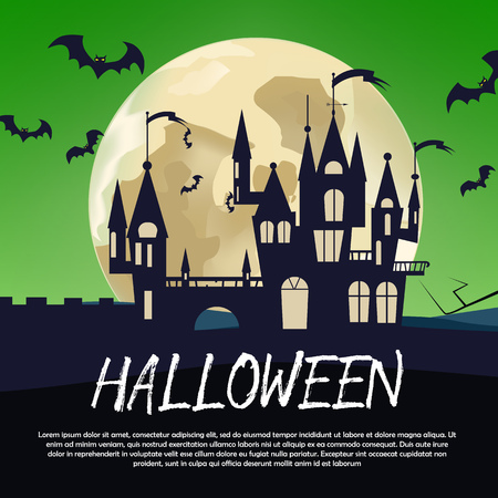 Halloween calligraphic poster design. Halloween calligraphic lettering with gothic black castle, bats and full moon on green background. Can be used for invitations, posters,banners
