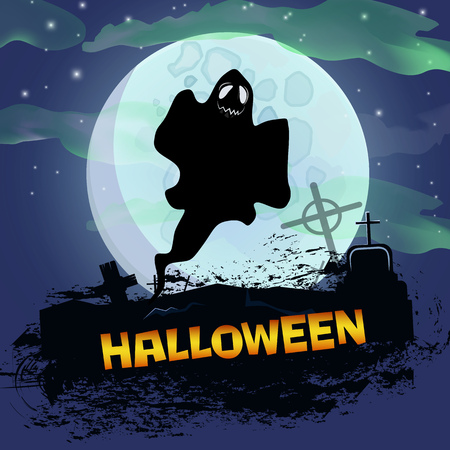Halloween poster design with ghost. Creative  lettering with cartoon character of ghost, cemetery, graves and full moon. Can be used for postcards, online banners, posters.