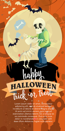 Happy Halloween trick or treat vertical poster with skeleton. Calligraphy with skeleton, skeleton dog, full moon on orange background. Can be used for programs, leaflets, posters.