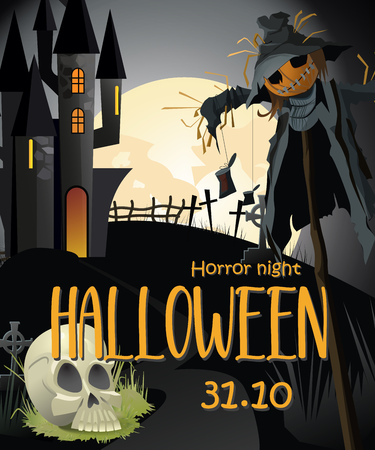 Horror night Halloween with information banner. Creative lettering with straw man, white skull, gothic castle and full moon. Can be used for posters and invitations.