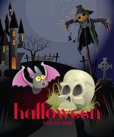Halloween trick or treat poster design with skull and straw man. Creative lettering with skull, straw man, bat and dark castle. Can be used for posters, banners.