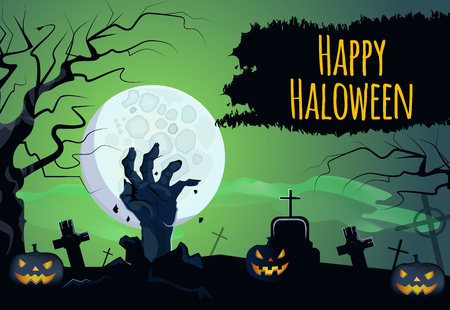 Happy Halloween lettering with zombie hand, pumpkins and moon. Invitation, greeting card or advertising design. Typed text, calligraphy. For leaflets, brochures, invitations, posters or banners. Vettoriali