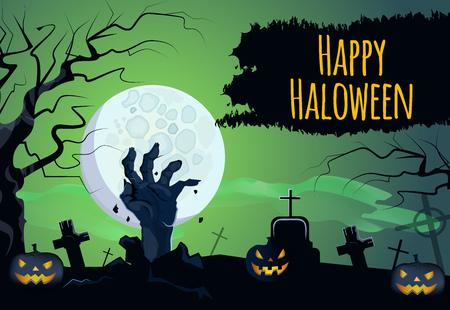 Glücklicher Halloween-Schriftzug mit Zombiehand, Kürbissen und Mond. Einladung, Grußkarte oder Werbedesign. Typisierter Text, Kalligraphie. Für Flugblätter, Broschüren, Einladungen, Poster oder Banner.