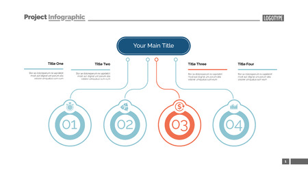 Four ideas process chart slide template. Business data. Startup, flow, design. Creative concept for infographic, presentation, report. Can be used for topics like marketing, economics, research. Reklamní fotografie