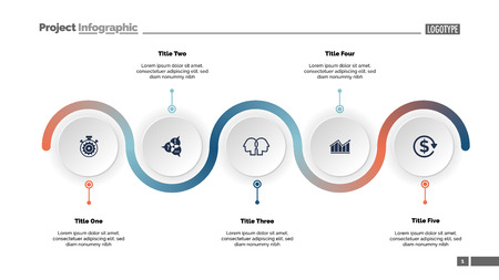 Five step process chart slide template. Business data. Progress, diagram, design. Creative concept for infographic, report, presentation. Can be used for topics like workflow, marketing, management Фото со стока