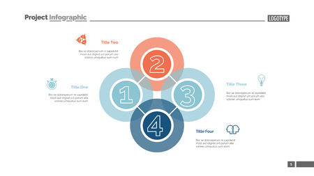 Quadruple intersect slide template. Business data. Graph, diagram. Creative concept for infographic, templates, presentation, report. Can be used for topics like workflow, strategy, analysis Ilustração Vetorial