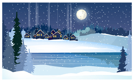 Winter night landscape with frozen river, fir-trees and cottages. Snowy country scene vector illustration. Winter country concept. For websites, wallpapers, posters or banners.  イラスト・ベクター素材