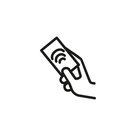 Main tenant l'icône de ligne de carte d'identité. Carte RFID, contrôle d'accès, carte clé bleue. Notion de biométrie. L'illustration vectorielle peut être utilisée pour des sujets tels que la sécurité, la technologie, la protection