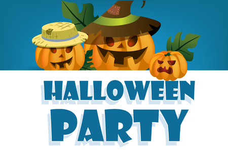 Halloween party festive banner design. Pumpkin lanterns company on blue background. Template can be used for flyers, posters, invitation cards