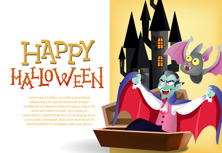 Happy Halloween card template. Dracula in coffin, ghost, cute bat and gothic castle on yellow background. Festive design can be used for flyers, banners, posters