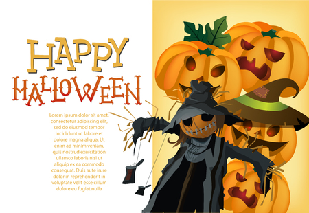 Happy Halloween card template. Pumpkin lanterns and scarecrow on yellow background. Festive design can be used for flyers, banners, posters